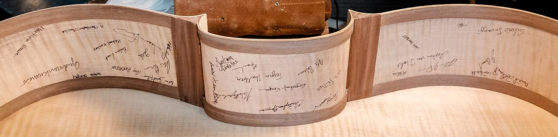 "Signatures on the inside of the 2014 ""Countess of Stainlein/Bernard Greenhouse"" Stradivari Cello copy"