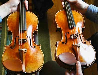 The Betts Stradivari next to the Oberlin copy